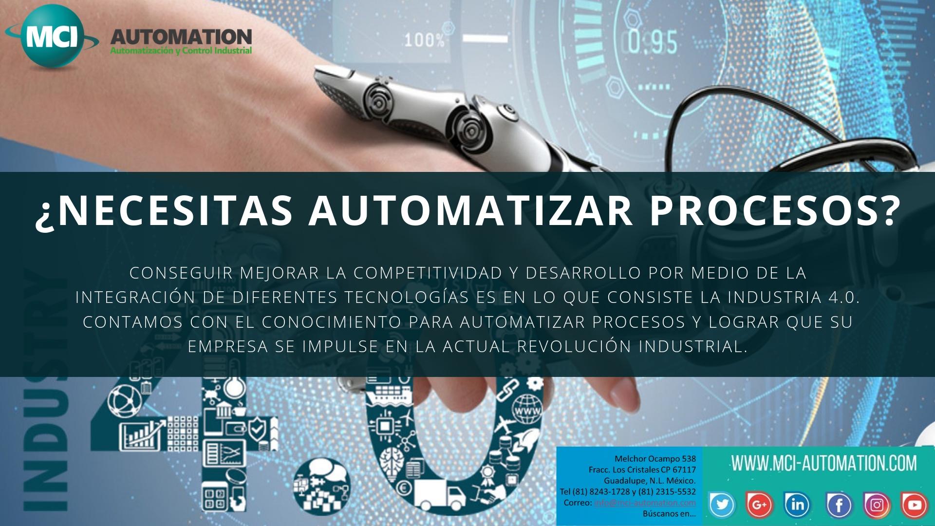 Automatizamos máquinas y procesos con PLC´s, PAC´s, HMI´s, PC´s, entre otros.